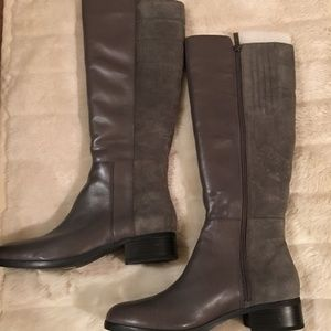 H by Halston Leather and Suede Tall Boots-Grey